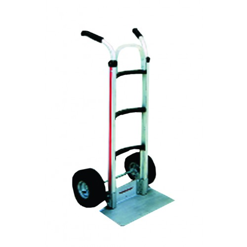 MAGLINER Aluminium Hand Truck with Pneumatic Wheels, Double Grip Handle and Folding D Nose