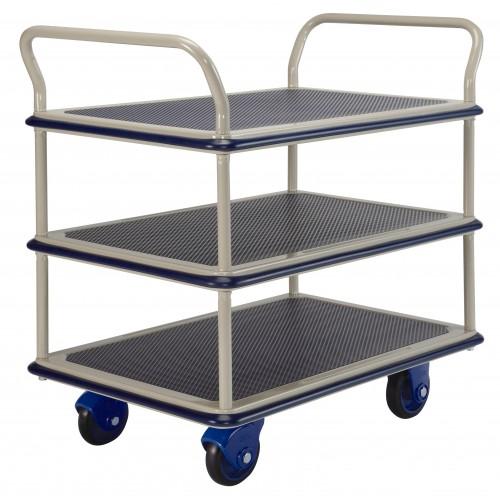 PRESTAR NF305 3 Tier Multi Deck Trolley Chrome Uprights 300 Kg